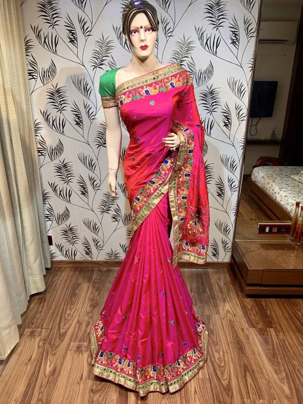 Cambridge Silk Party Wear Saree In Pink Embroidery Work & crystal Stone Work