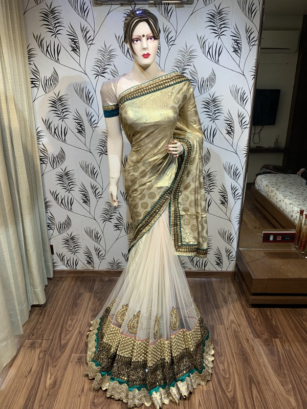 Glitter Viscose Party Wear Saree In Golden Embroidery Work & Crystal Stone Work