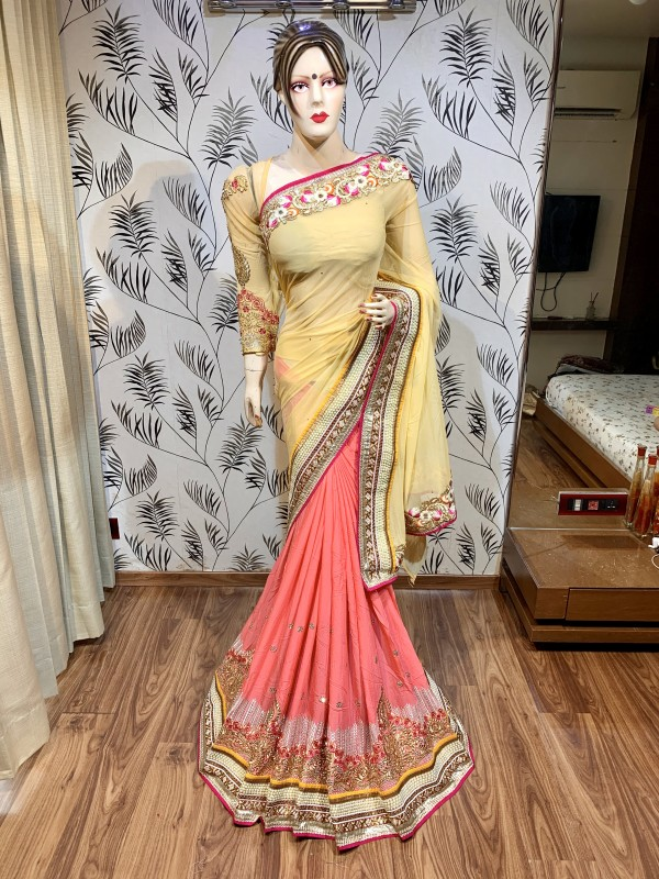 Soft Premium Net Party Wear Saree In Light Yellow & Pink With Embroidery Work & Crystal Stone Work