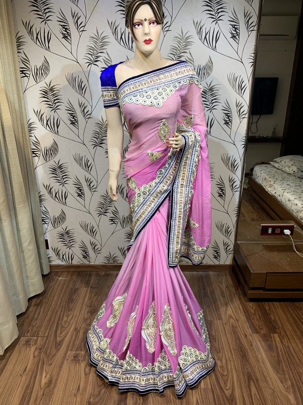 Pure Chiffon Wedding Wear Saree In Pink WIth Embroidery Work & Crystal Stone work