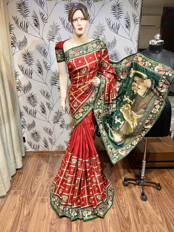 Pure Gazi Silk Wedding Wear Saree In Maroon In Embroidery & Handwork