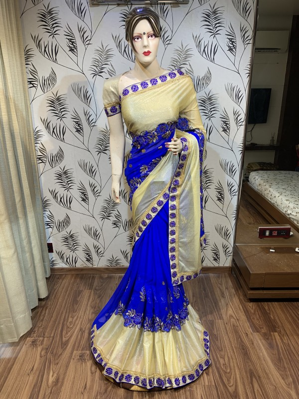 Georgette Party Wear Saree In Blue with Embroidery Work & Crystal Stone Work