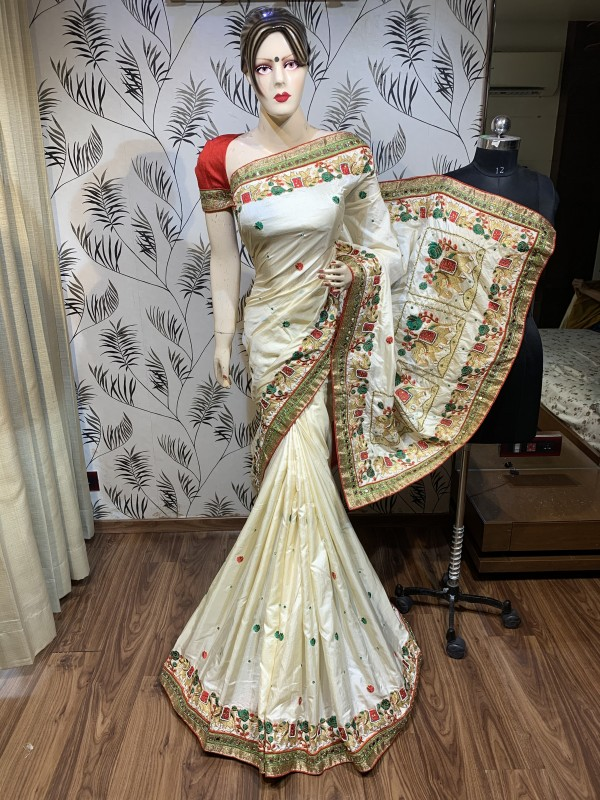 Cambridge Silk Party Wear Saree In Off White Embroidery Work & crystal Stone Work