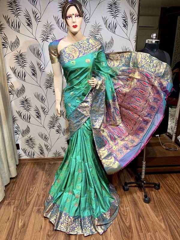 Pure Banarasi Silk Wedding Wear Saree In Turquoise With Handwork