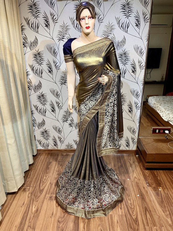 Fancy imported Fabrics Party Wear Wear Saree In Golden With Embroidery Work