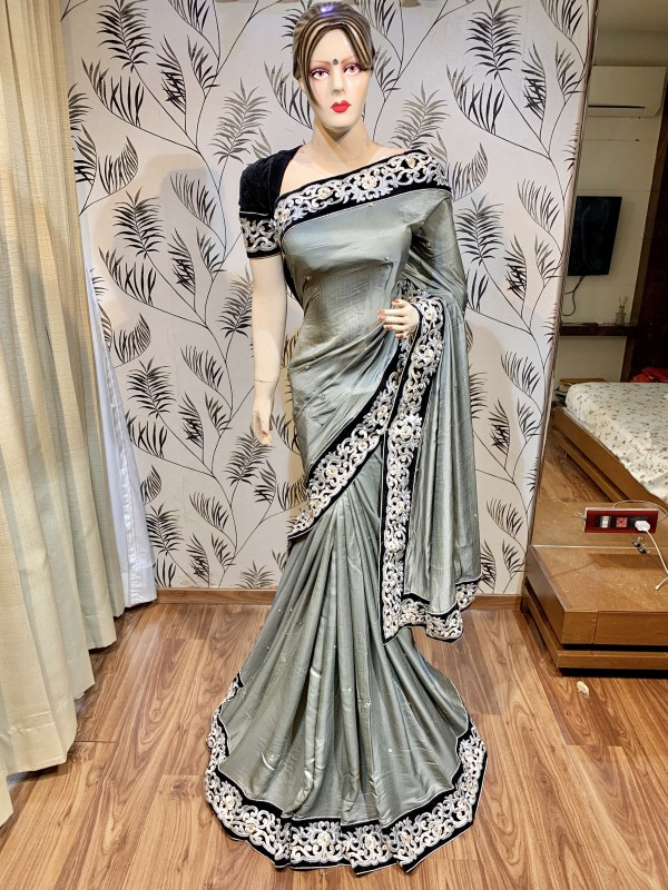 Pure Satin Silk  Party Wear Wear Saree In Grey With Embroidery Work