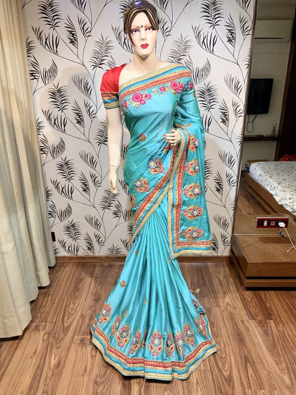 Pure Chiffon Silk Wedding Wear Wear Saree In Sky Blue With Embroidery Work & Crystal Stone Work