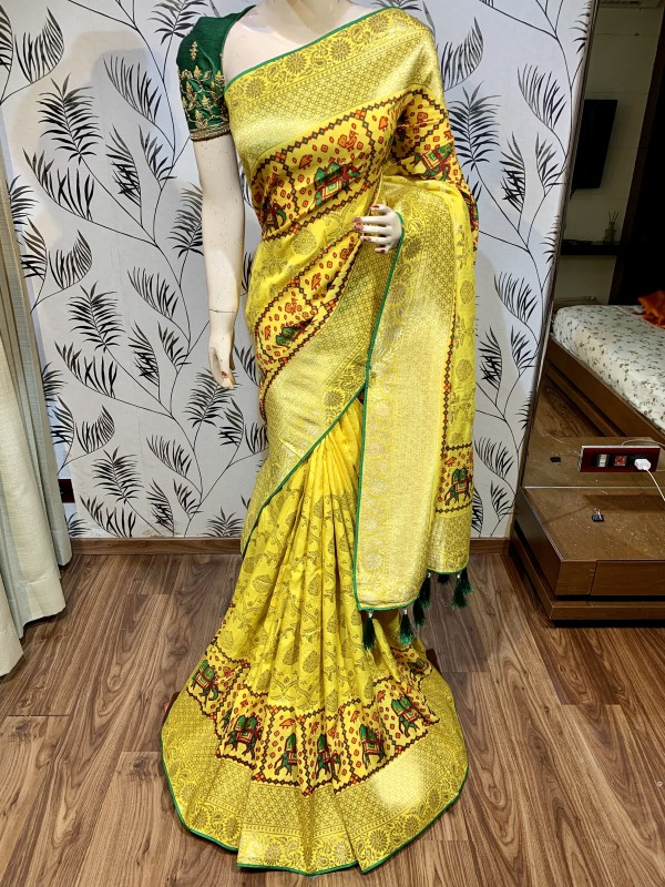 Pure Natural Dola Silk Wedding Wear Yellow Color Saree with Embroidery work