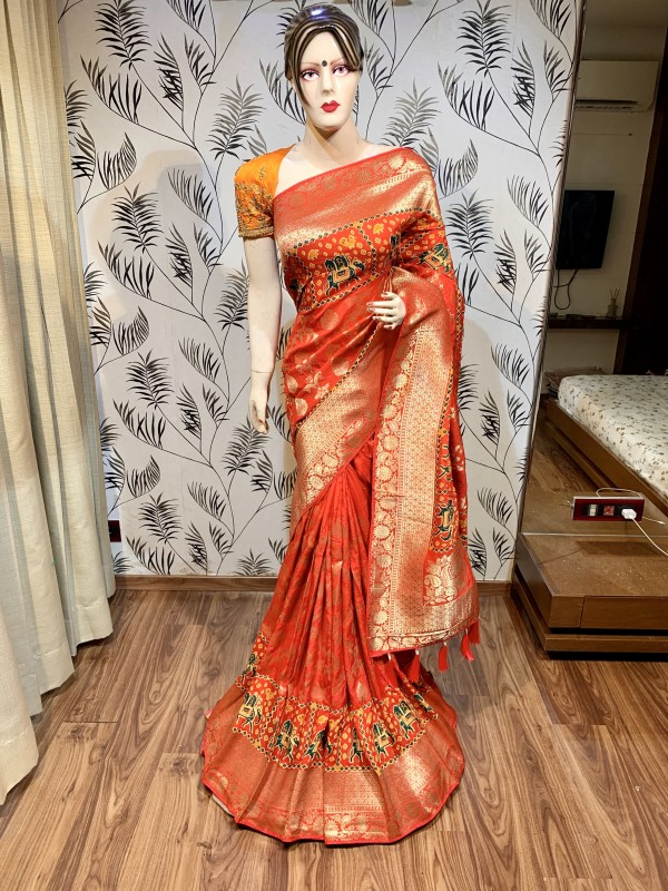 Pure Natural Dola Silk Wedding Wear Red Color Saree with Embroidery work