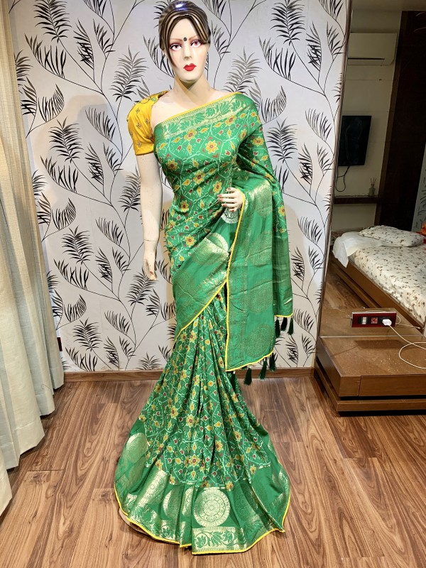 Pure Natural Dola Silk Wedding Saree In Green Color with Embroidery work
