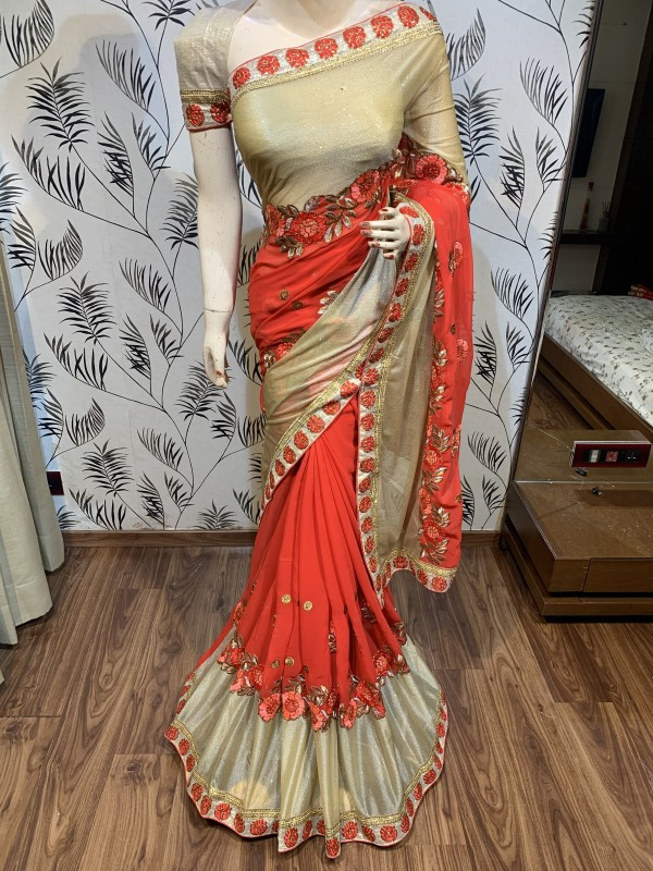 Georgette Party Wear Saree In Red Color With Embroidery Crystal Stone Work