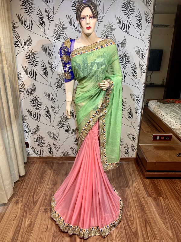Fancy Imported fabrics Party Wear Saree In Green&Pink With Embroidery & Crystal Stone Work