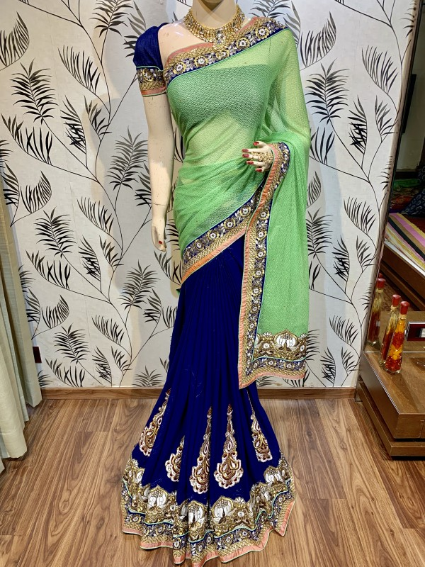 Fancy Imported Fabric Party Wear Saree In Green WIth Embroidery Work & Crystals Stone Work