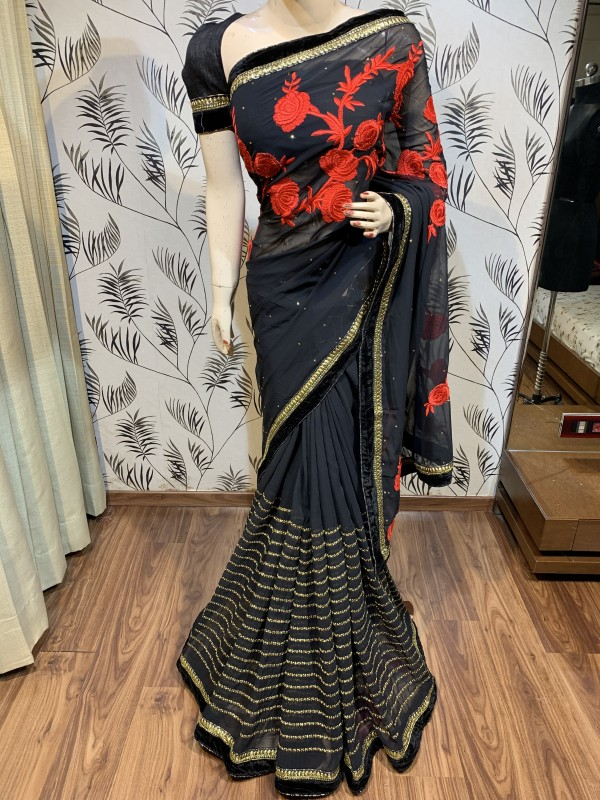 Georgette Party Wear Saree In Black In Embroidery & Crystal Stone work