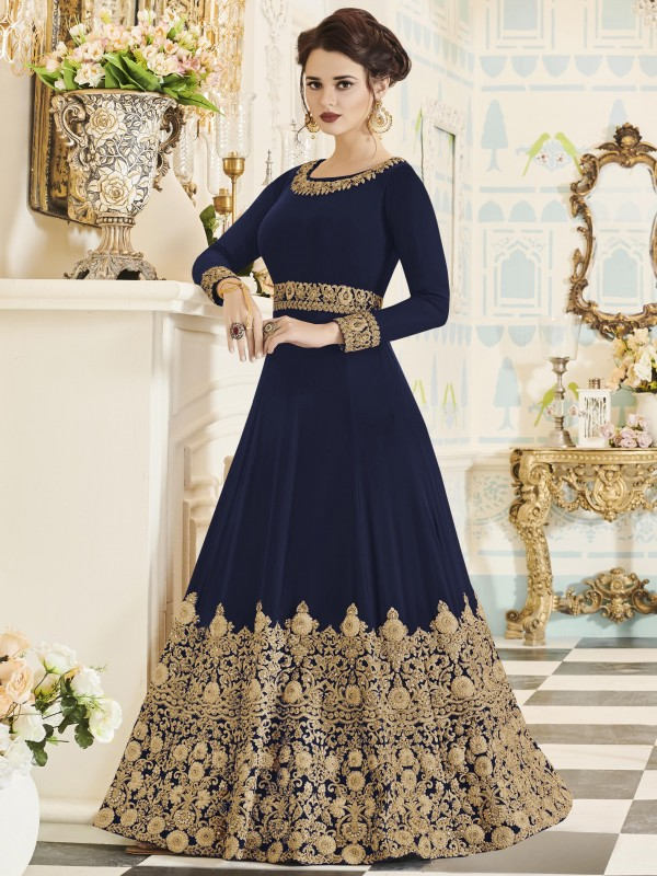 Georgette Party Wear In Blue With Thread Work