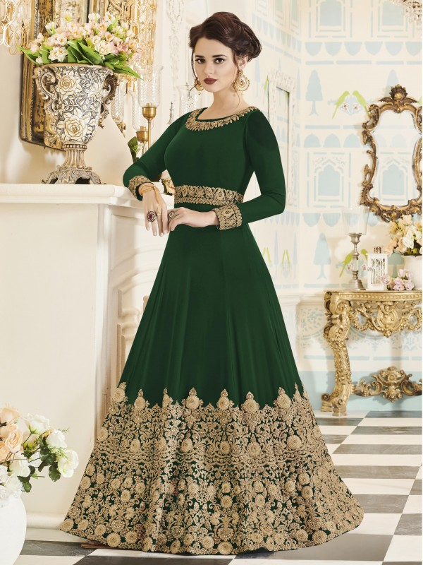 Georgette Party Wear In Green With Thread Work