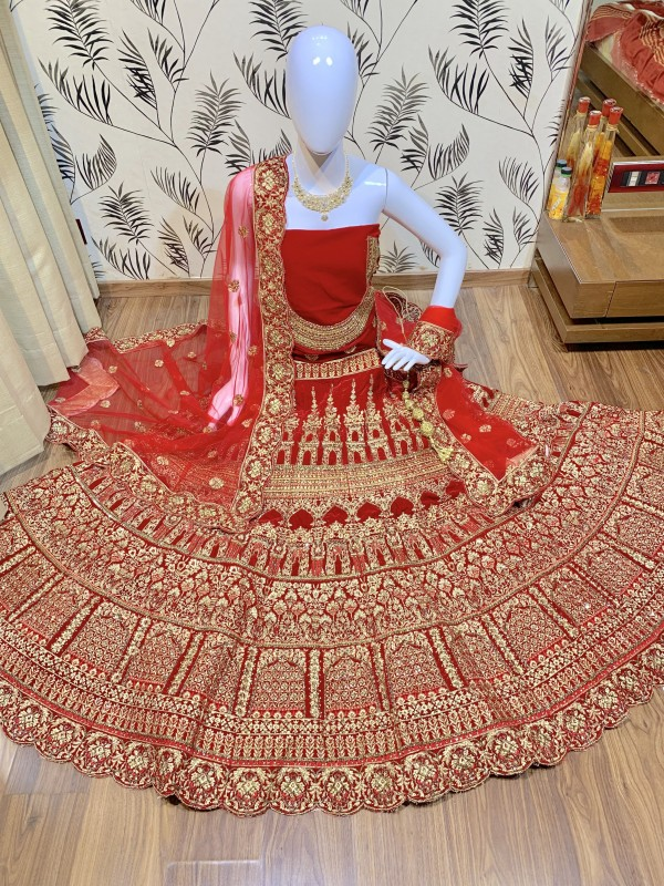 Pure Micro Velvet Bridal Wear Lehenga In Red Color With Embroidery Work & Stone Work Hand work,sequence