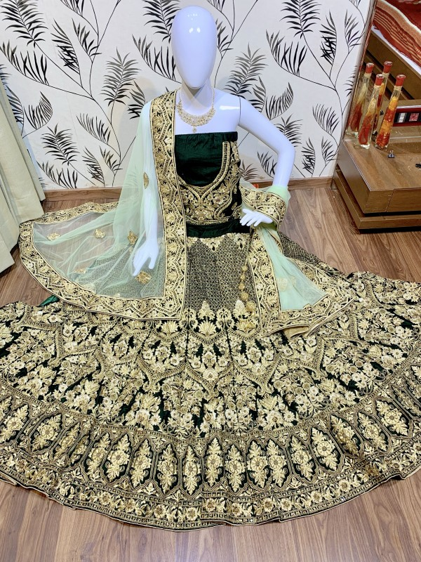 Pure Micro Velvet Bridal Wear Lehenga In Green Color With Embroidery Work & Stone Work Hand work,