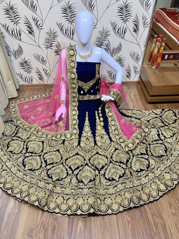 Pure Micro Velvet Bridal Wear Lehenga In Blue Color With Embroidery Work & Stone Work Hand work,