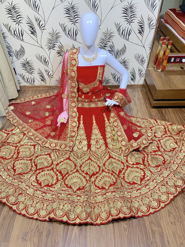 Pure Micro Velvet Bridal Wear Lehenga In Red Color With Embroidery Work & Stone Work Hand work,