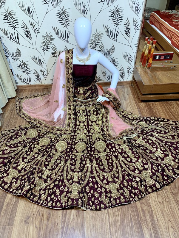 Pure Micro Velvet Bridal Wear Lehenga In  Purple Color With Embroidery Work & Stone Work Hand work,sequence