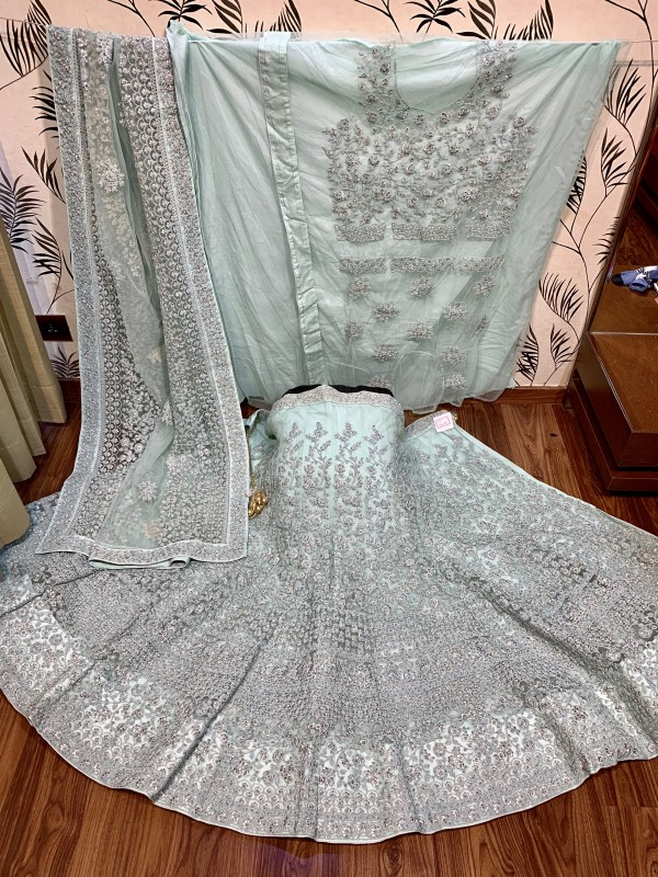 Soft Premium Net Party Wear Lehenga In Sea Green With Embroidery & Pearl  Work