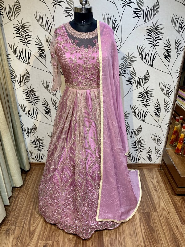 Soft Premium Net Wedding Wear Gown In Pink Embroidery Work & Sequence Work