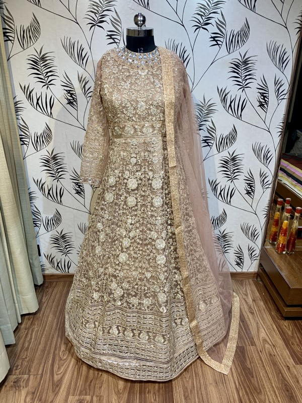 Soft Premium Net Wedding Gown In Light Brown With Stone Work