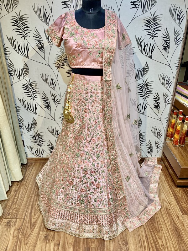 Pure Satin Silk Wedding Wear Lehenga In Pink WIth Embroidery & Crystals Stone Work