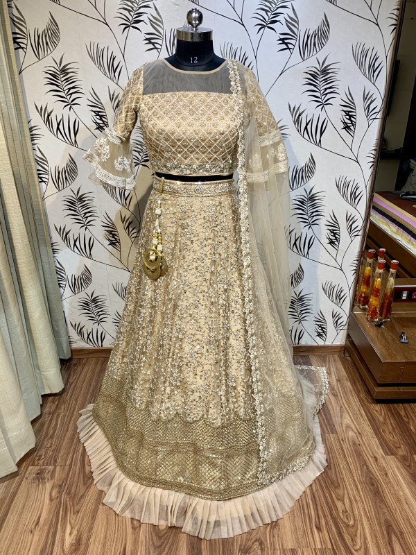 Soft Premium Net Wedding Wear Lahenga In Gold Embroidery Work & Sequence Work