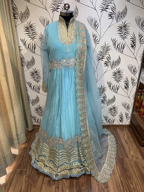 Soft Butter Net Wedding Wear Gown In Sky Blue With Swarovski Work