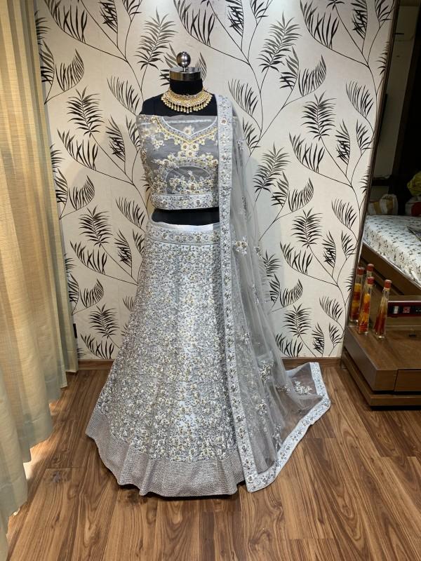 Soft Premium Net Wedding Lehenga In Grey With Embroidery Work & Pearl Work