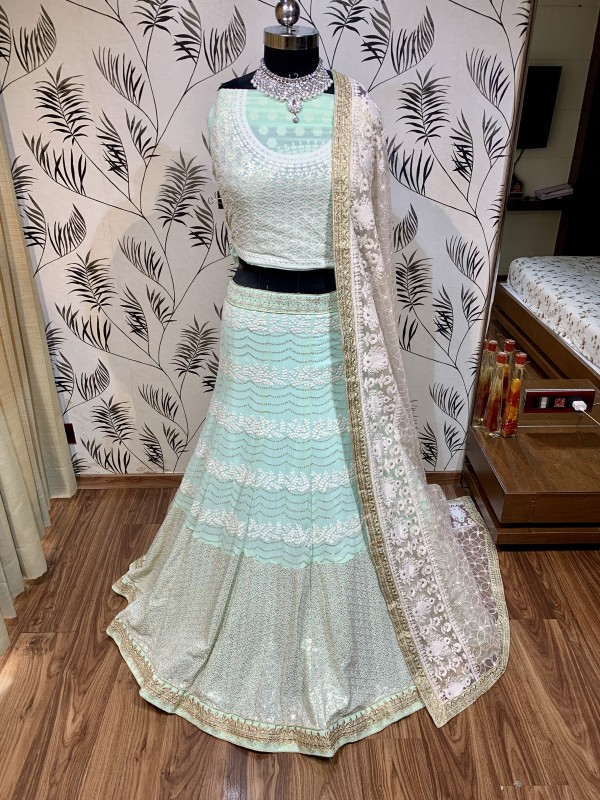 Pure Soft Georgette Wedding Wear Lehenga In Sky Blue With Embroidery Work & Sequence work