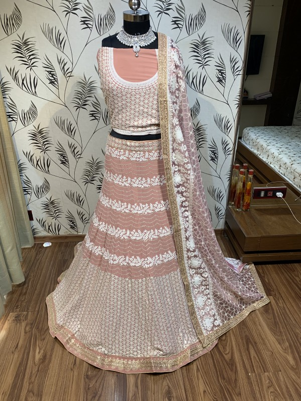 Pure Soft Georgette Wedding Wear Lehenga In Light Pink With Embroidery Work & Sequence work