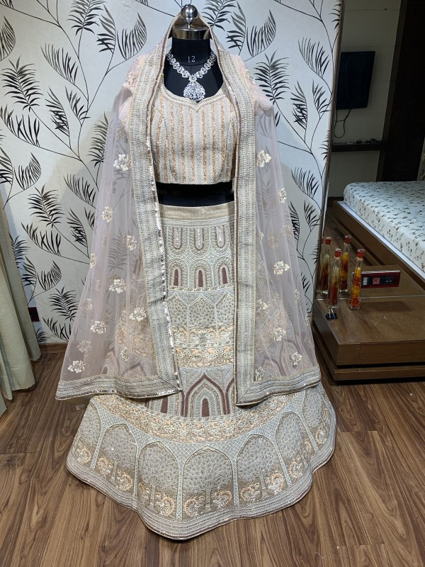 Pure Silk Bridal Wear Lehenga In Light Peach With Embroidery  work