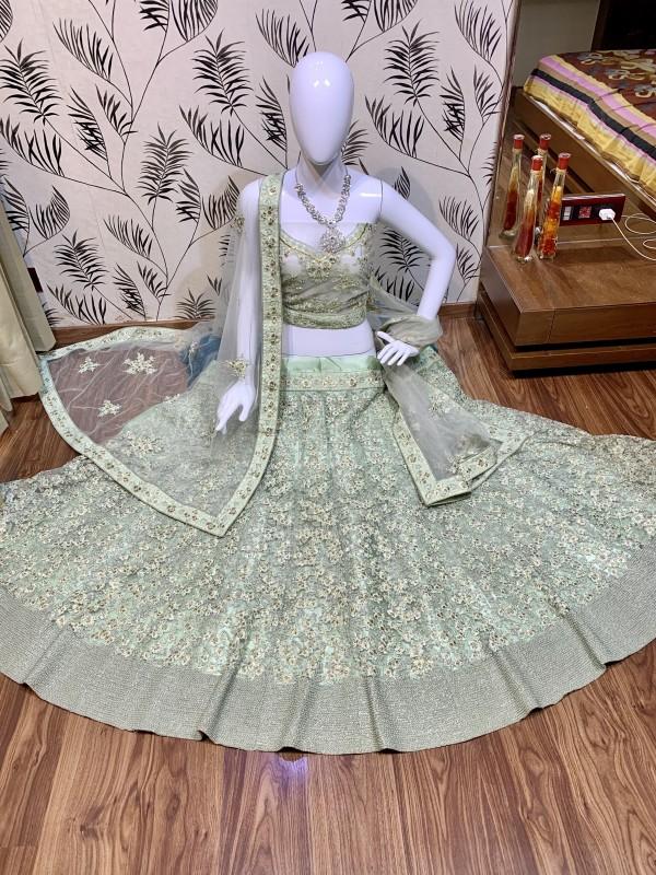 Soft Premium Net Wedding Lehenga In Green With Embroidery Work & Pearl Work