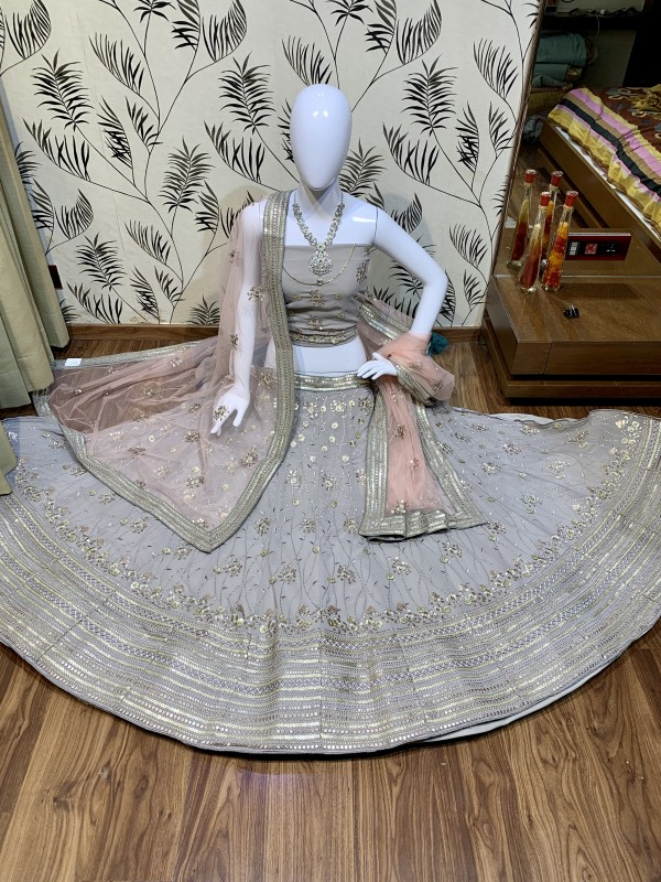 Pure Soft Georgette Wedding Wear Lehenga In Grey With Embroidery Work & Sequence work