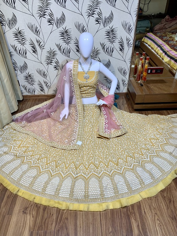 Pure Soft Georgette Wedding Wear Lehenga In Yellow With Embroidery Work & Sequence work