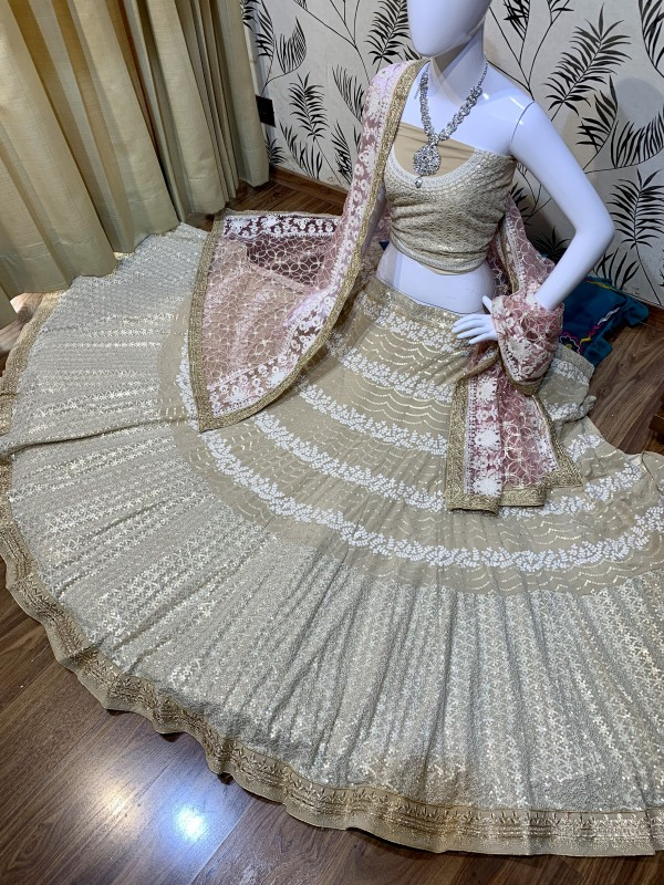 Pure Soft Georgette Wedding Wear Lehenga In Beige With Embroidery Work & Sequence work