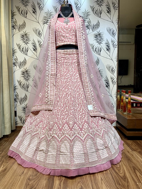 Pure Soft Georgette Wedding Wear Lehenga In Pink With Embroidery Work & Sequence work