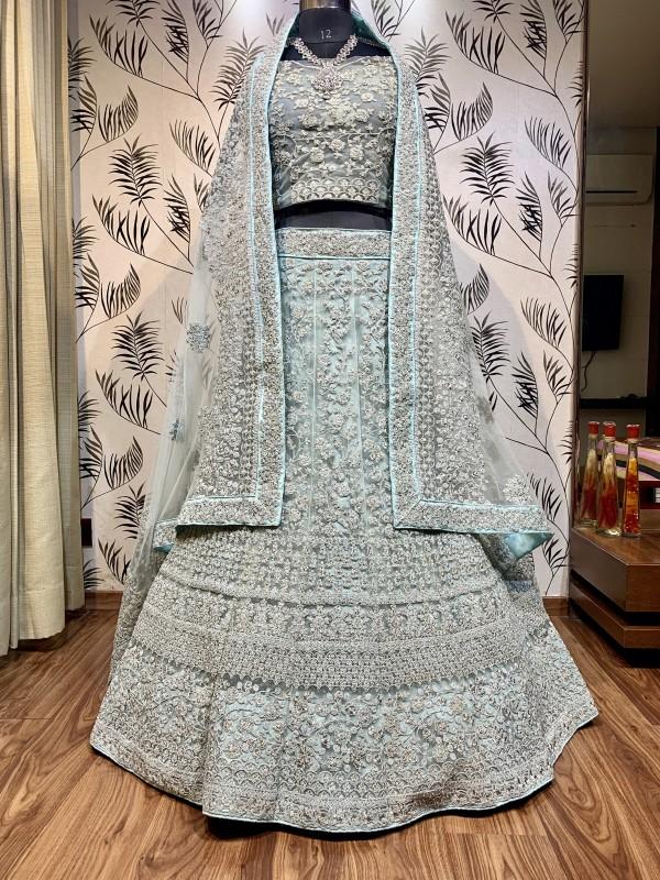 Soft Premium Net Wedding Lehenga In C- Green With Embroidery Work & Pearl Work