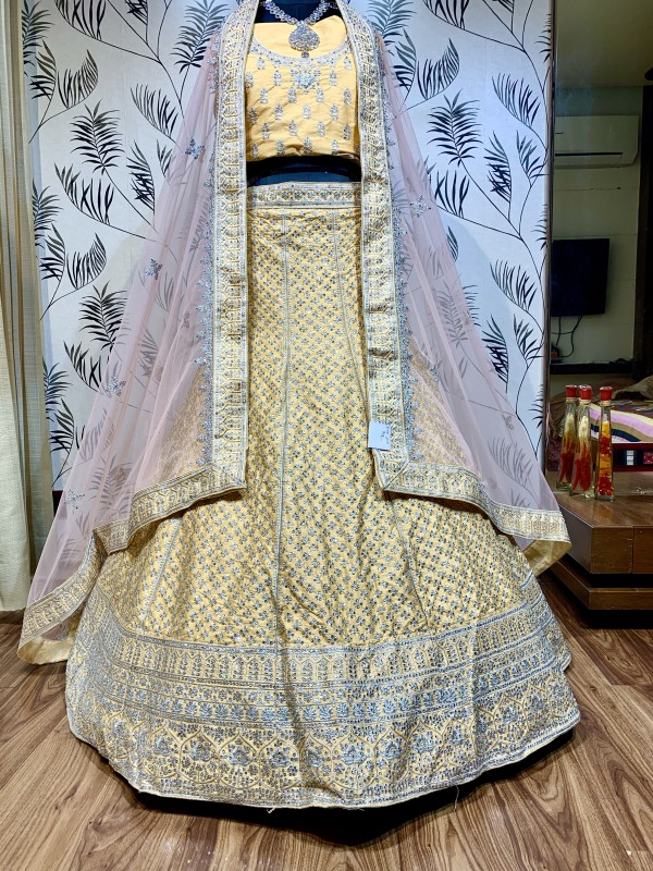 Pure Satin Silk Wedding Wear Lehenga In Yellow With Embroidery Work & Sequence work