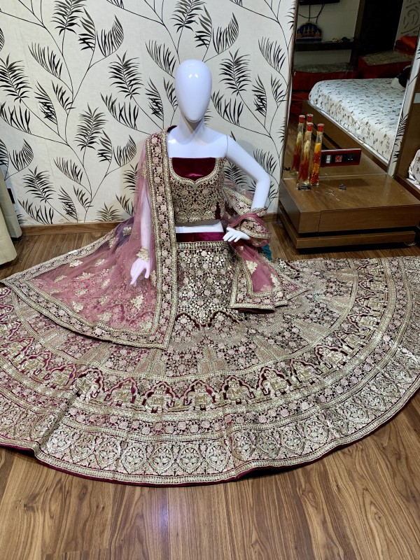 Pure Micro  Velvet Bridal  Wear Lehenga In Magenta  With Embroidery Work