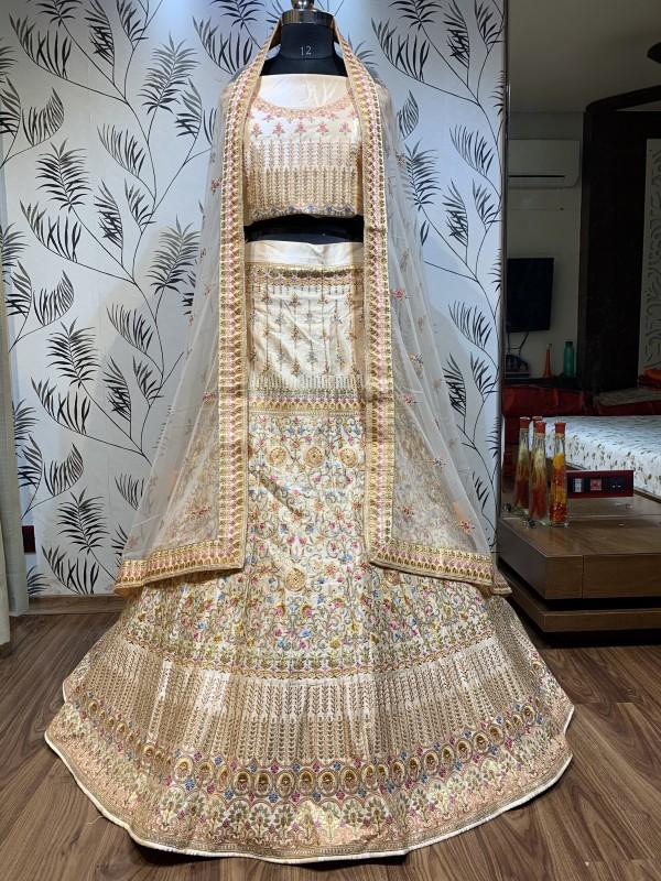 Pure Satin Silk Bridal  Wear Lehenga In Cream  With Embroidery Work