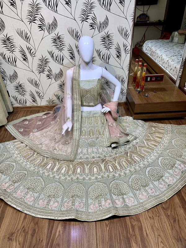 Pure Silk Bridal Wear Lehenga In Light Grey With Embroidery  work