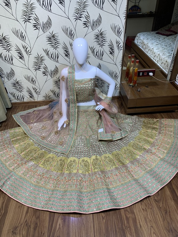 Pure Silk Bridal Wear Lehenga In Multi Grey With Embroidery  work
