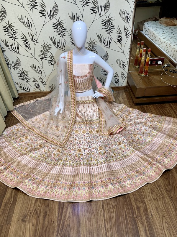 Pure Satin Silk Bridal  Wear Lehenga In Pink  With Embroidery Work