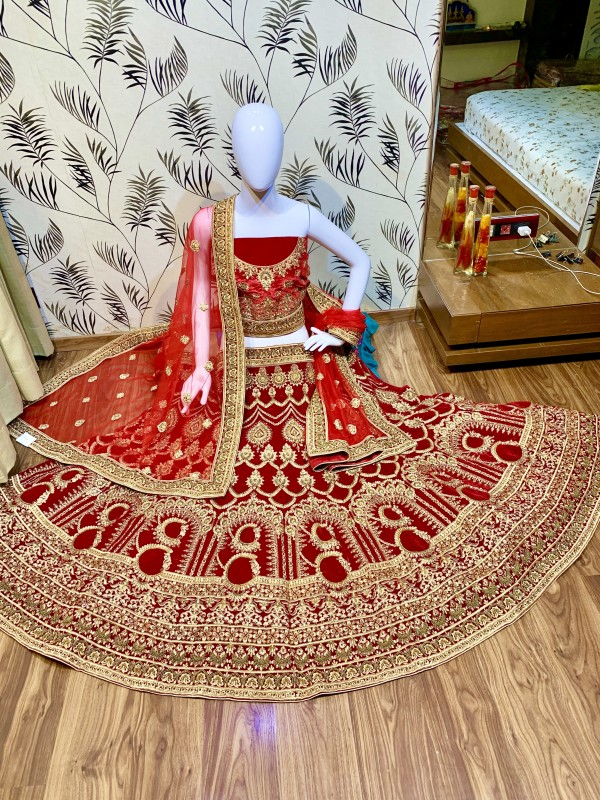 Pure Micro Velvet Wedding Wear Lehenga in Red color With Embroidery Work & Stone Work