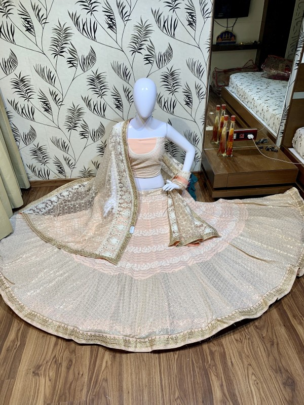 Pure Soft Georgette Wedding Wear Lehenga In Peach With Embroidery Work & Sequence work