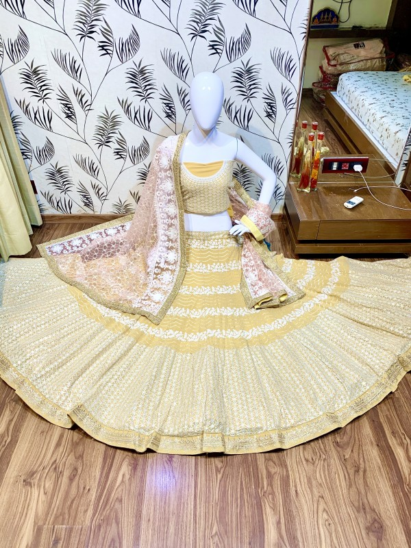 Pure Soft Georgette Wedding Wear Lehenga In Light  Yellow  With Embroidery Work & Sequence work